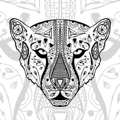 The black and white cheetah print with ethnic zentangle patterns. Coloring book for adults antistress. Art therapy, zenart, meditaion. The image on the fabric, tattoo