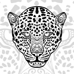 The black and white leopard print with ethnic zentangle patterns, coloring book for adults