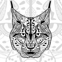 The black and white bobcat print with ethnic zentangle patterns.