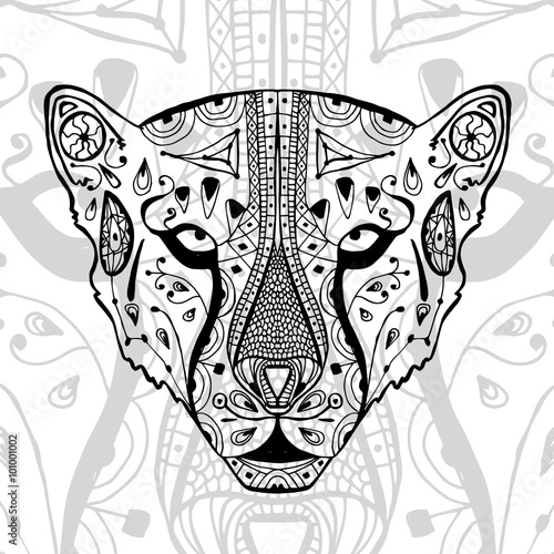 The Black And White Cheetah Print With Ethnic Zentangle Patterns Best Zentangle Patterns To Print