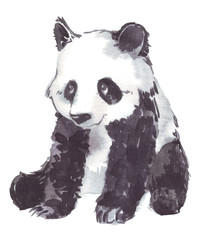 illustration drawing of a panda
