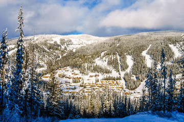 Wall Mural - The village of Sun Peaks viewed from the ski slopes of Mount Morrisey in the Shuswap Highlands of British Columbia, Canada