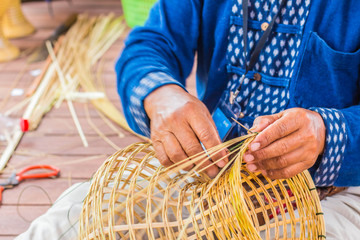 The wicker with bamboo