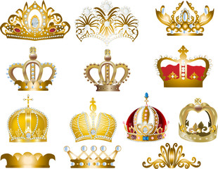 thirteen gold crowns isolated on white
