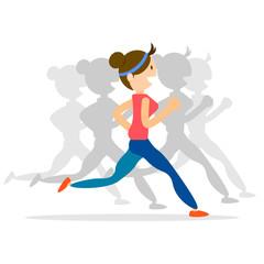 woman running, jogging, marathon sport