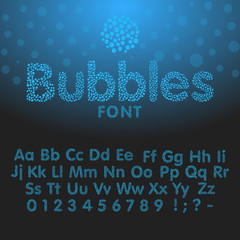 Alphabet letters consisting of blue bubbles