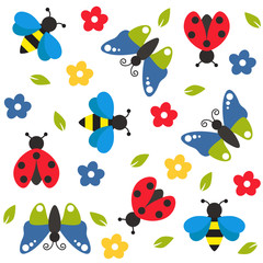 Colorful insects and flowers seamless pattern