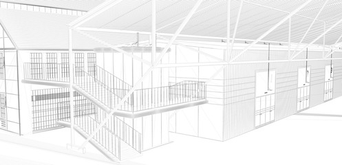 Perspective 3D render of interior wireframe. blueprint background (my own design)