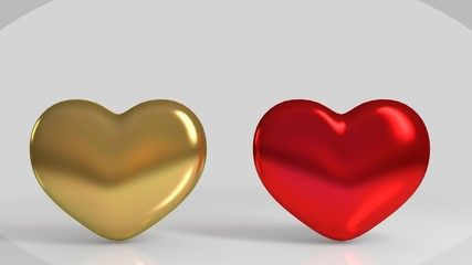 3d Golden and red shiny heart shape in a white stage