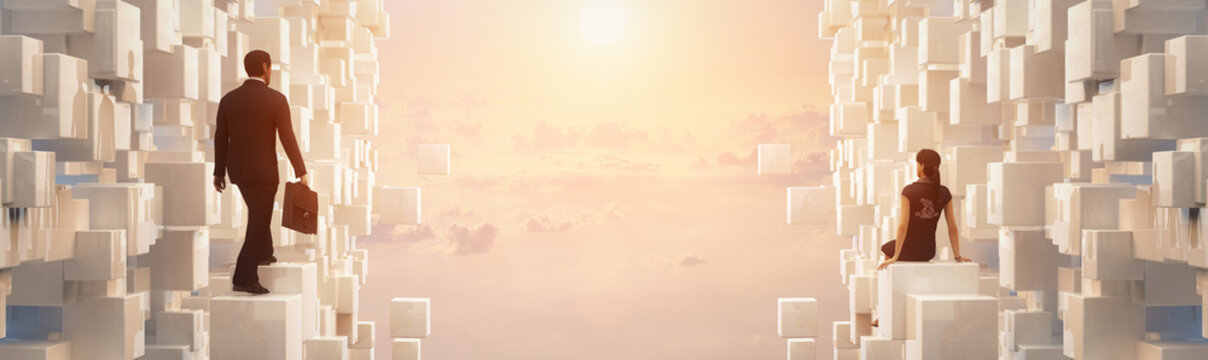 3D Businessman and dreaming woman looking to the future inside an amazing scene with clouds