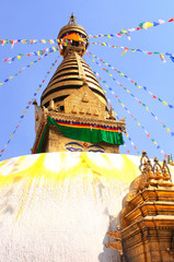 Stupa with Buddha eyes and prayer flags, Swayambhunath, Kathmand
