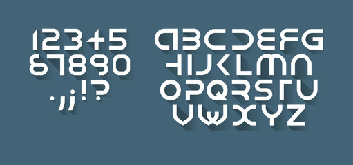 Flat font, each symbol separately isolated