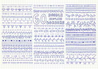 Collection of 60 vector seamless borders in doodle style