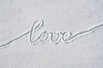 Text love hand written on snow background. Horizontal valentines postcard template.
