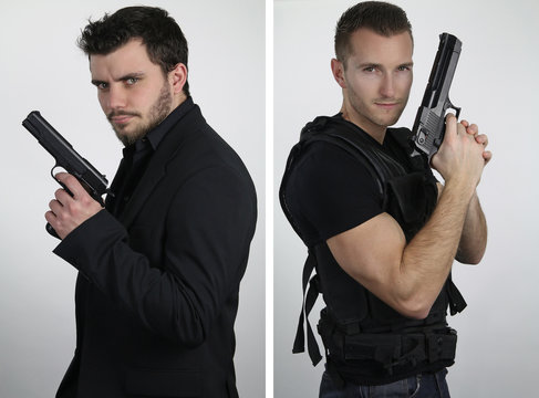 The super cops - two young cops posing