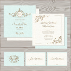 Wedding classic set. Wedding invitation, save the date card, place card.