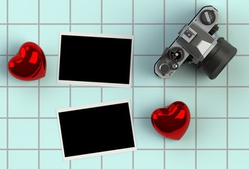 top view image of red heart , blank photo and vintage photo camera on blue ceramic tile background. valentine's day celebration concept.