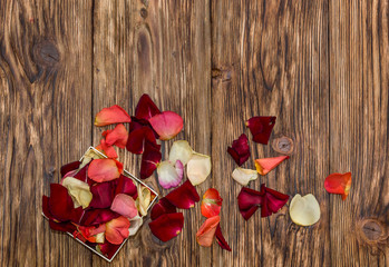 Rose petals in open box and scattered on a wooden background