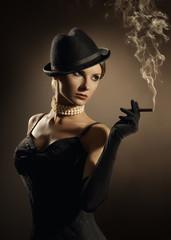 Woman Smoking Cigar, Lady in Smoke Cloud, Fashion Model Girl