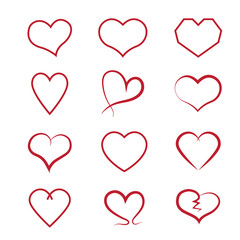 Heart icons set, Vector hearts set.