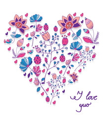 beautiful background with flowers in heart shape on white background and with the inscription I love you
