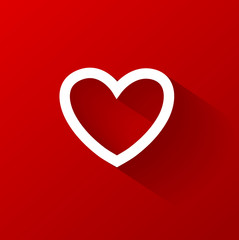 Valentines heart on red background. Vector