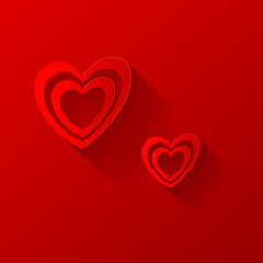 Valentines hearts on red background. Vector