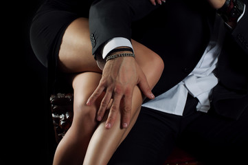 men's hand rests on the beautiful female legs
