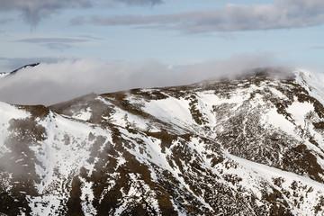 Montañas con nieve, Sierra del Teleno. Montes de León. Macizo Galaico Leones. España.
