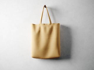 Cotton textile bag holding, neutral background. 3d render
