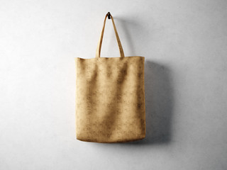 Blank cotton textile bag holding, neutral background. 3d render