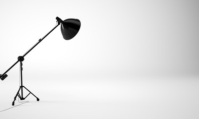 Light and empty studio room with black lamp, nobody. 3d render
