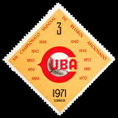 CUBA - CIRCA 1971: A stamp printed in Cuba shows Baseball World Cup, series sport, circa 1971
