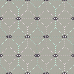 vector pattern of geometric web and eyes on gray background