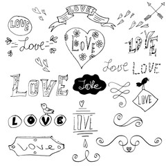 Set of hand written words. Love lettering. Vector text for your design isolated on white background. Used for greeting cards, posters and print invitations. Happy Valentine's Day greeting card.