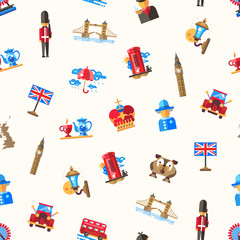 Travel to Great Britain pattern with famous British symbols