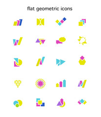 Flat geometric colorful abstract icons