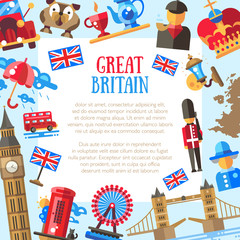 Great Britain travel card template with famous British symbols