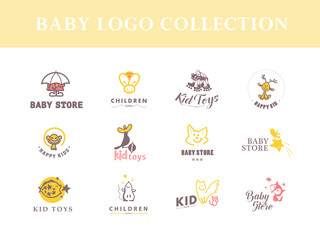 Flat loco collection for kid brand mark logo and children toys store insignia.