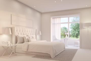 Weißes Schlafzimmer mit Doppelbett