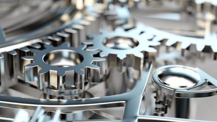 Viele Zahnräder in Maschine oder Motor Wall mural