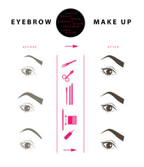 Flat cosmetic illustration of eyebrow make up