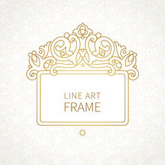 Vector decorative line art frame in Eastern style.