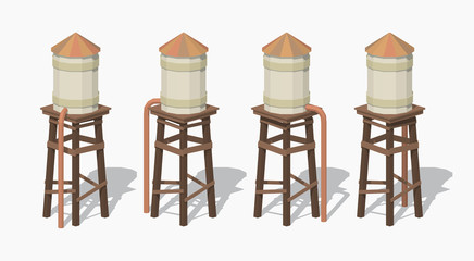 Old water tower. 3D lowpoly isometric vector illustration. The set of objects isolated against the white background and shown from different sides