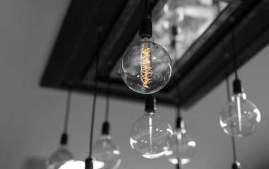 Set of antique light bulbs decor glowing light