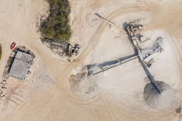 aerial  view of  the rock quarry