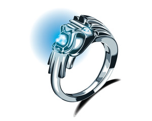 Lion Silver Ring Turquoise Gemstone Vector