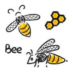 Bees set. Vector illustrations, doodle logos of bee and honeycomb.