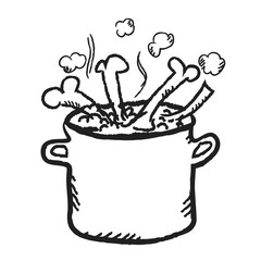 doodle cooking pot,  illustration icon