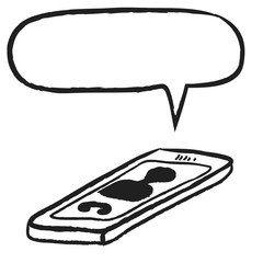 doodle smart phone and speech bubble, illustration icon